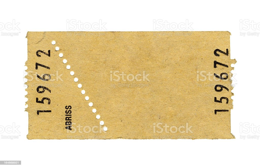 Ticket isolated on white background, clipping path included stock photo