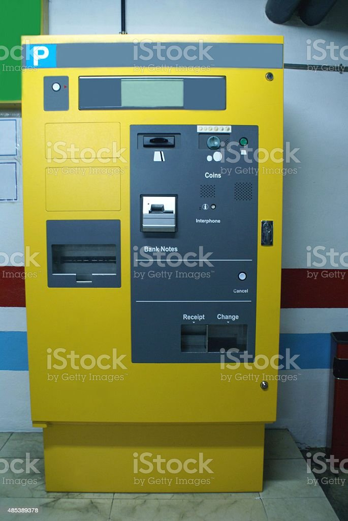 ticket machine at car parking lot stock photo