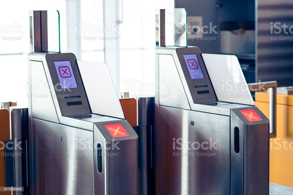 Ticket machines on airport stock photo