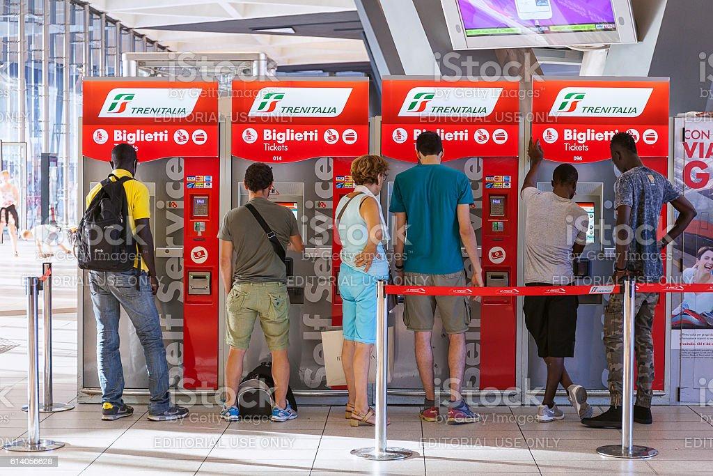 ticket machines train station stock photo