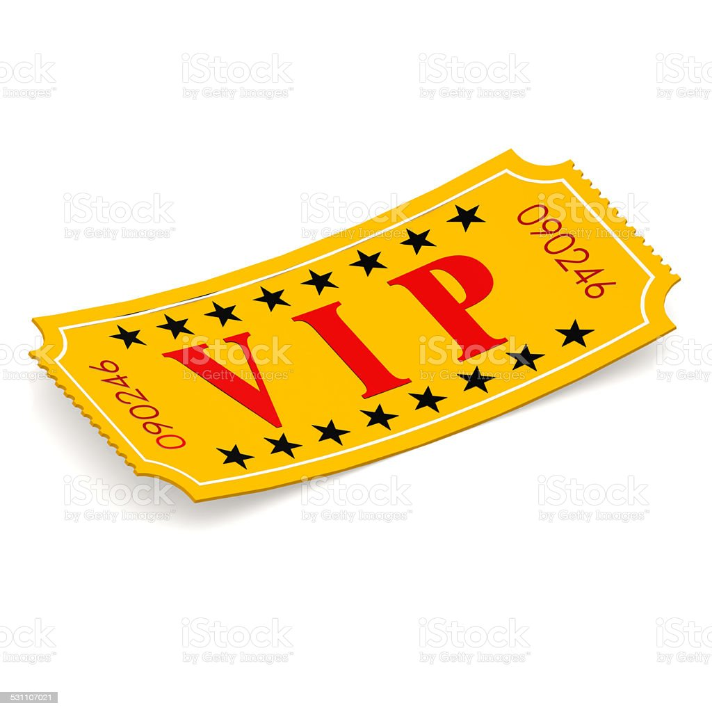 VIP ticket on white background stock photo