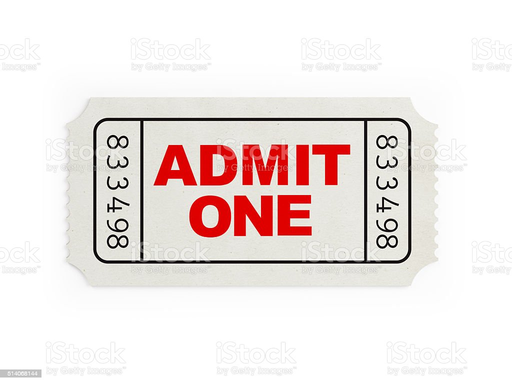 Ticket Sampler : White Blank Event Ticket stock photo