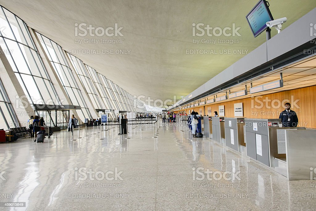 Ticketing area of the Dulles International Airport stock photo