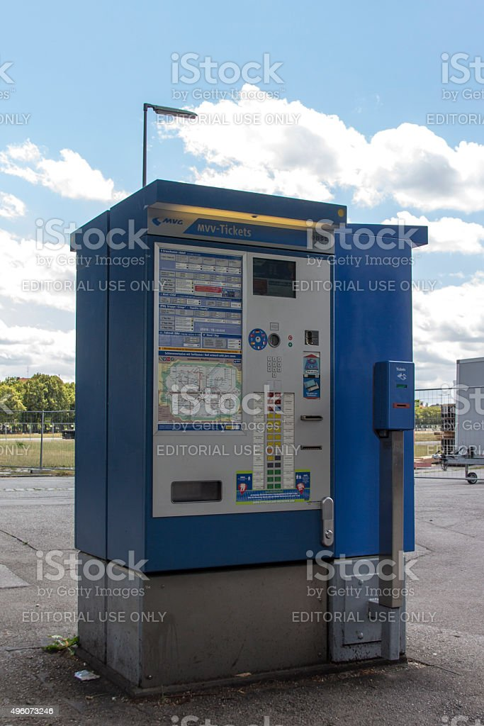 Ticketing machine at Theresienwiese in Munich, 2015 stock photo