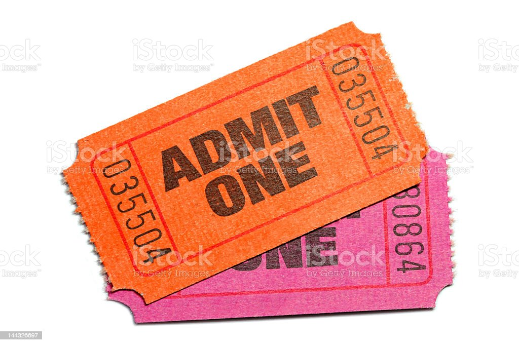 Tickets with printed admit one letters and serial numbers stock photo