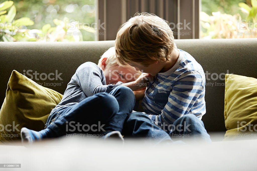 Tickle fight! stock photo