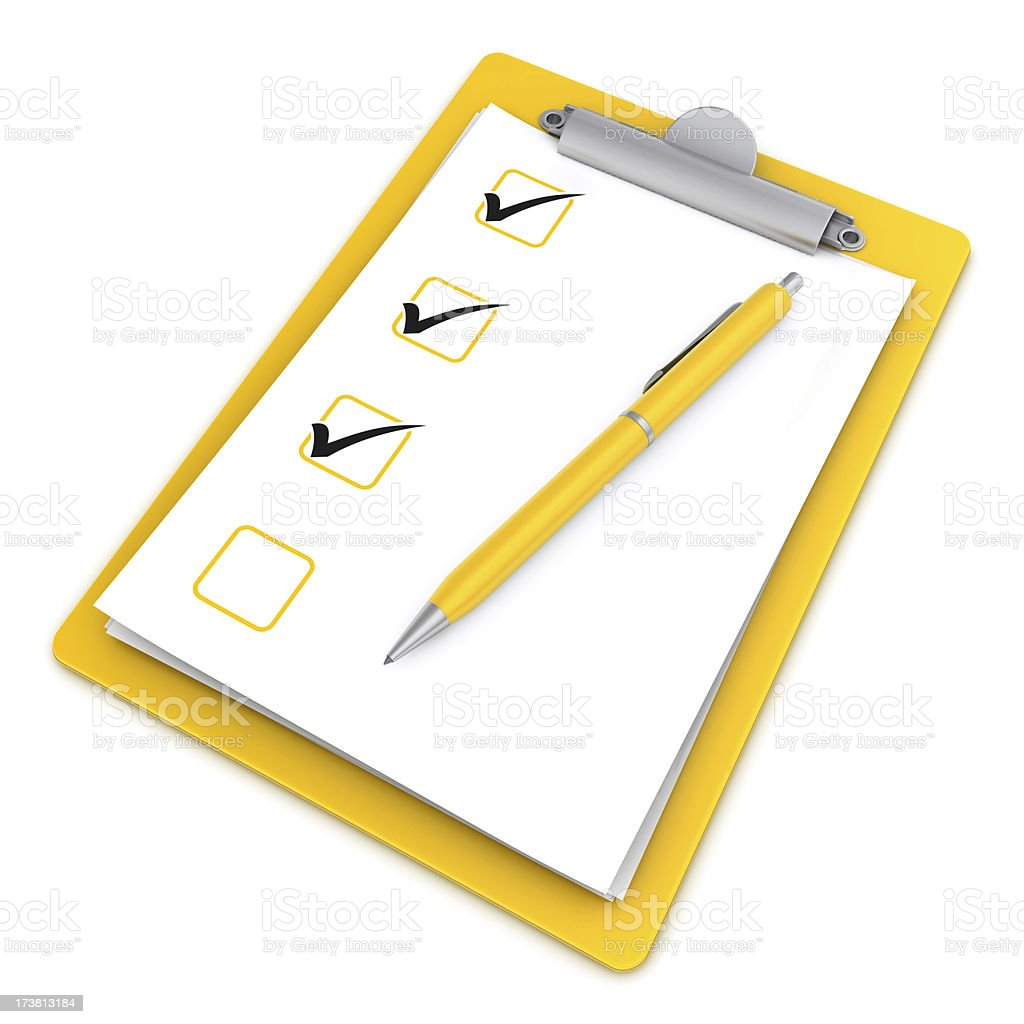 ticks on clipboard and pen royalty-free stock photo