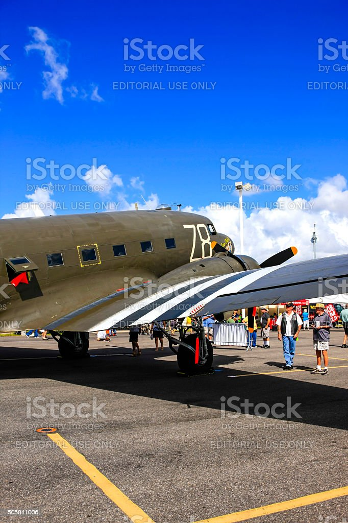 Tico Belle, the Douglas C-47 Skytrain at Fort Myers FL stock photo