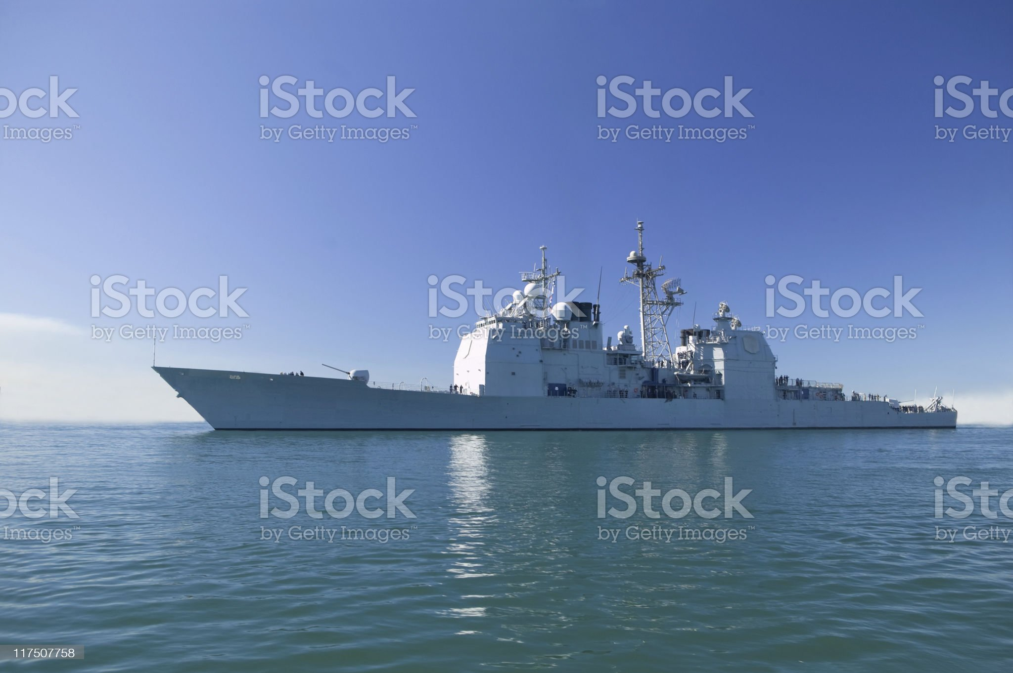 Ticonderoga class cruiser at sea on a clear sunny day royalty-free stock photo