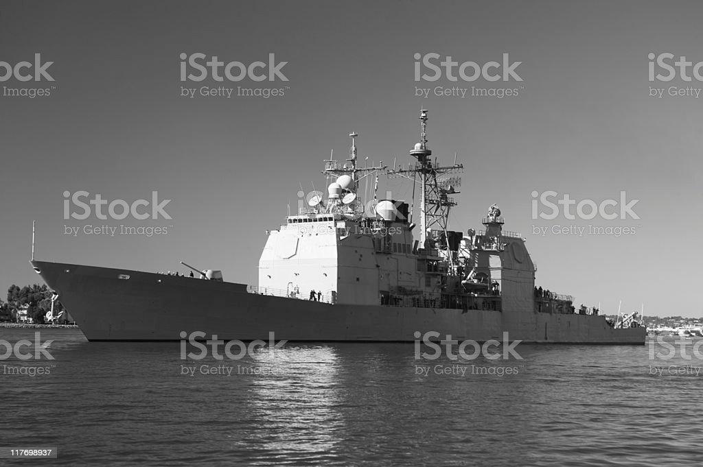 Ticonderoga class cruiser at Sea stock photo
