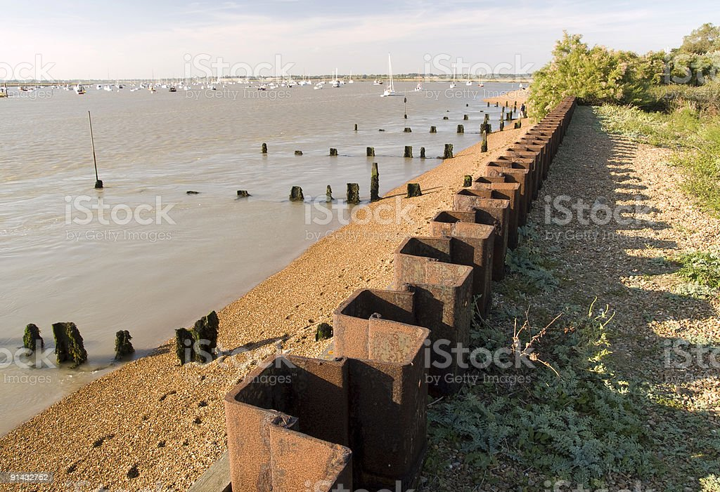 Tidal defense wall at the Stour Estuary, Bawdsey, Suffolk stock photo