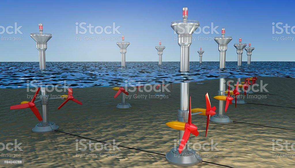 Tidal energy illustration ,  3D illustration stock photo