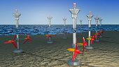 Tidal energy illustration ,  3D illustration