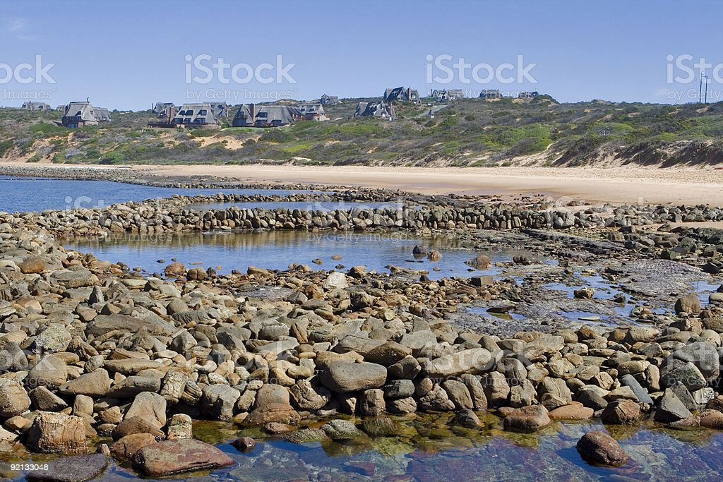 Tidal fish traps in South Africa. stock photo