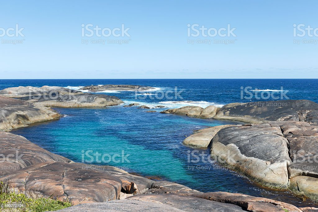Tidal Pool at Albany Coast Western Australia stock photo