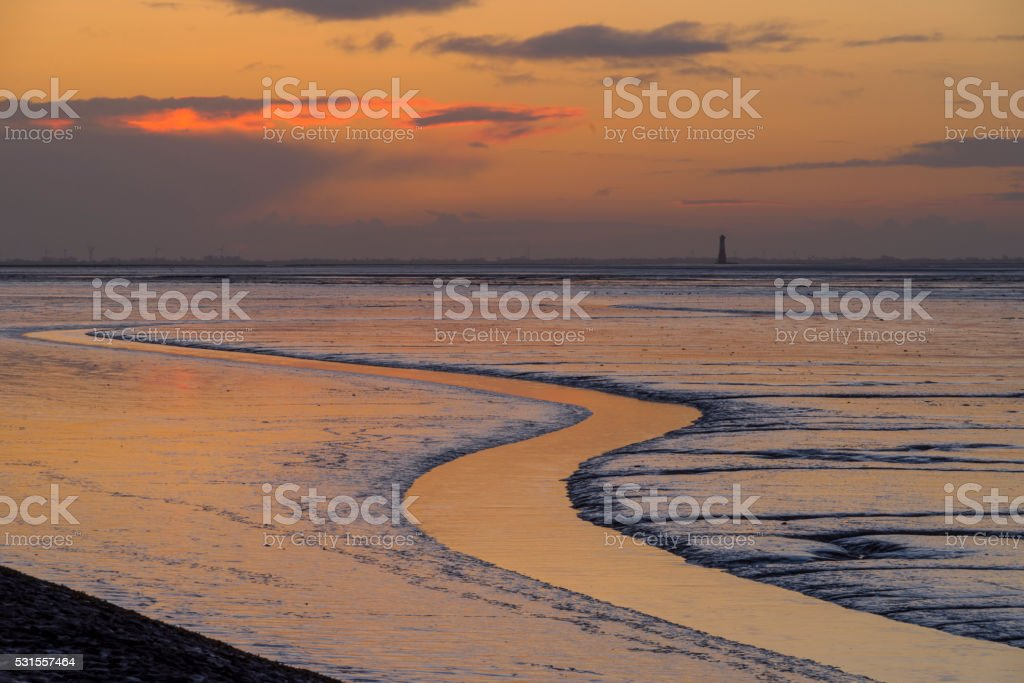 Tidal pool in the Wadden Sea at sunrise stock photo
