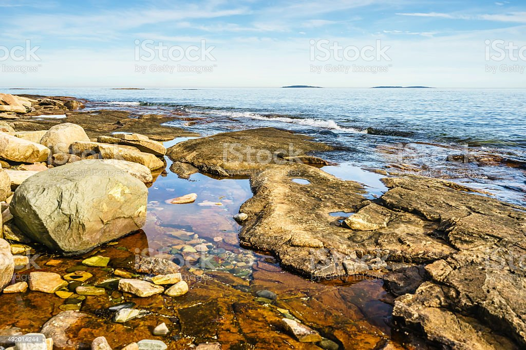 Tidal pool seascape in Maine stock photo