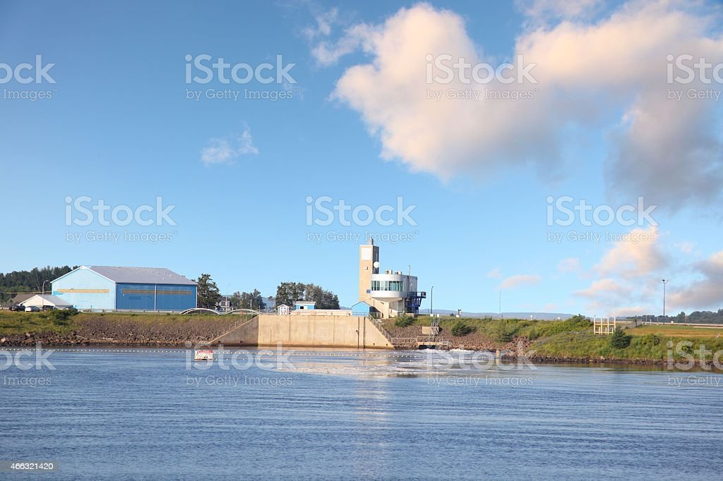 Tidal power generating station. stock photo