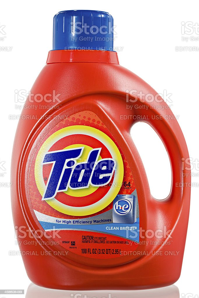 Tide HE Laundry Detergent. stock photo