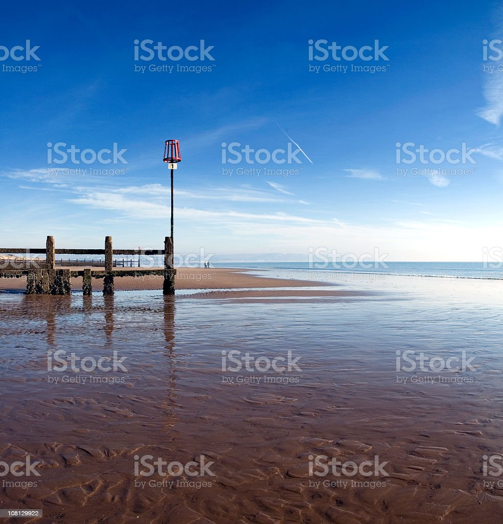 Tide Out at Dawlish Warren Beach stock photo