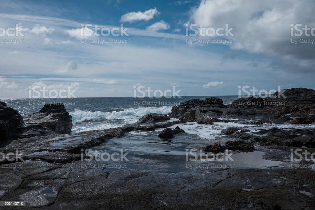 Tidepools At Glass Beach Kauai stock photo