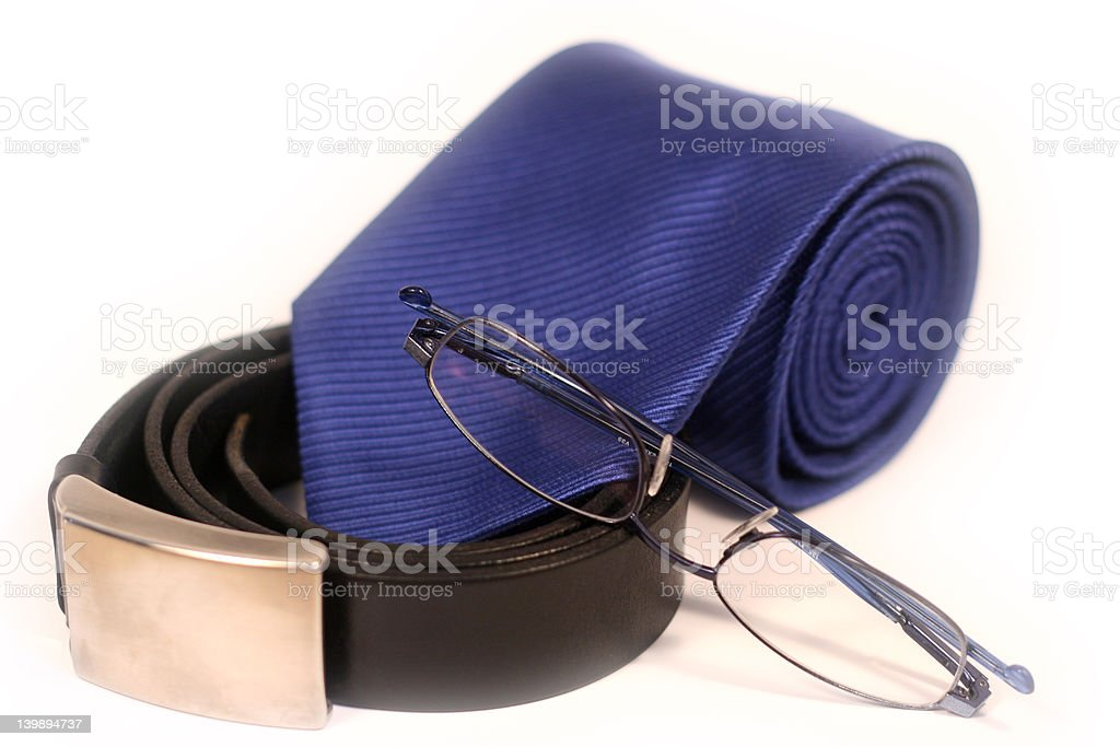 Tie, belt and Glasses royalty-free stock photo