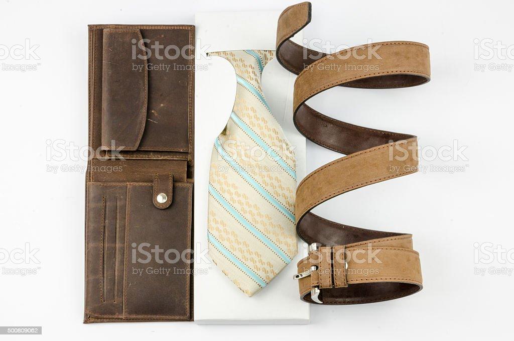 tie belt and wallet stock photo