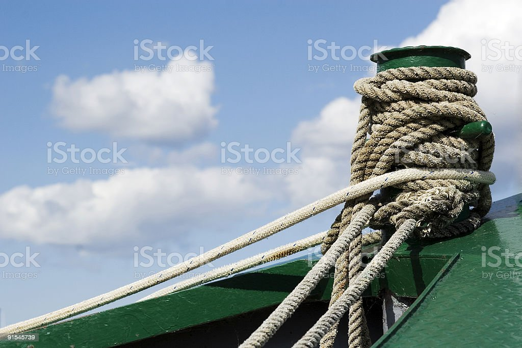 Tie boat rope. stock photo