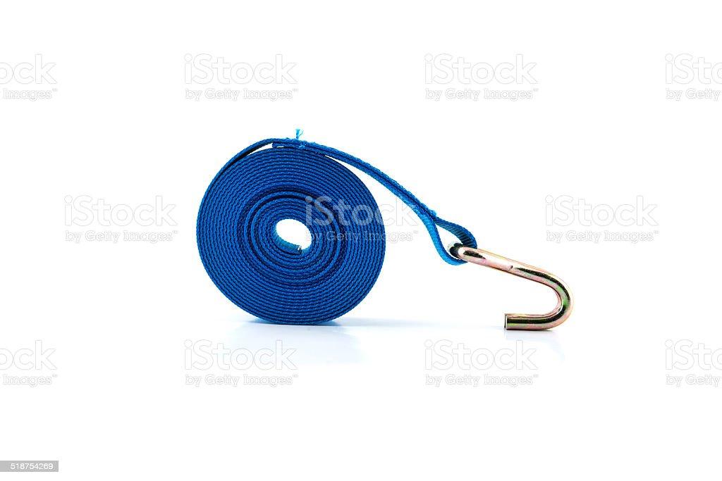 tie down strap ratchet on white background stock photo