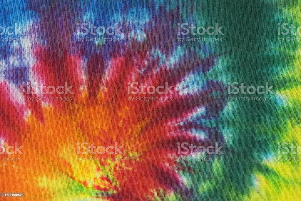 Tie Dye 60s, 70s Psychedelic Peace Symbol Pattern Background royalty-free stock photo