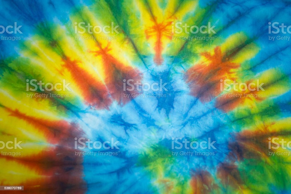 Tie dye Spiral Fabric stock photo