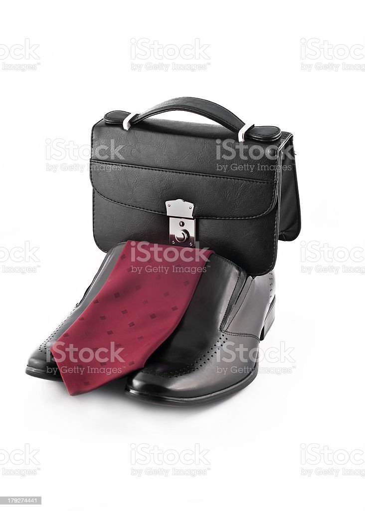 Tie, pochette and Pair of men's classic leather shoes isolated royalty-free stock photo