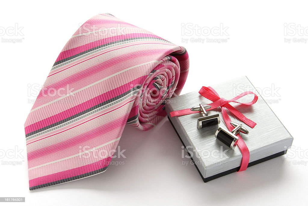 Tie with cuff links and gift box stock photo