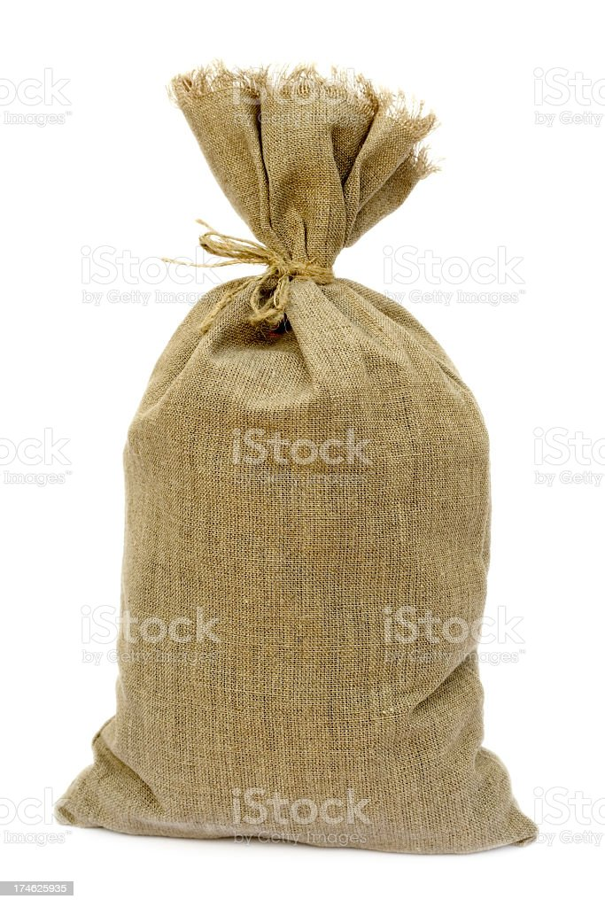 Tied brown hemp sack against a white background stock photo