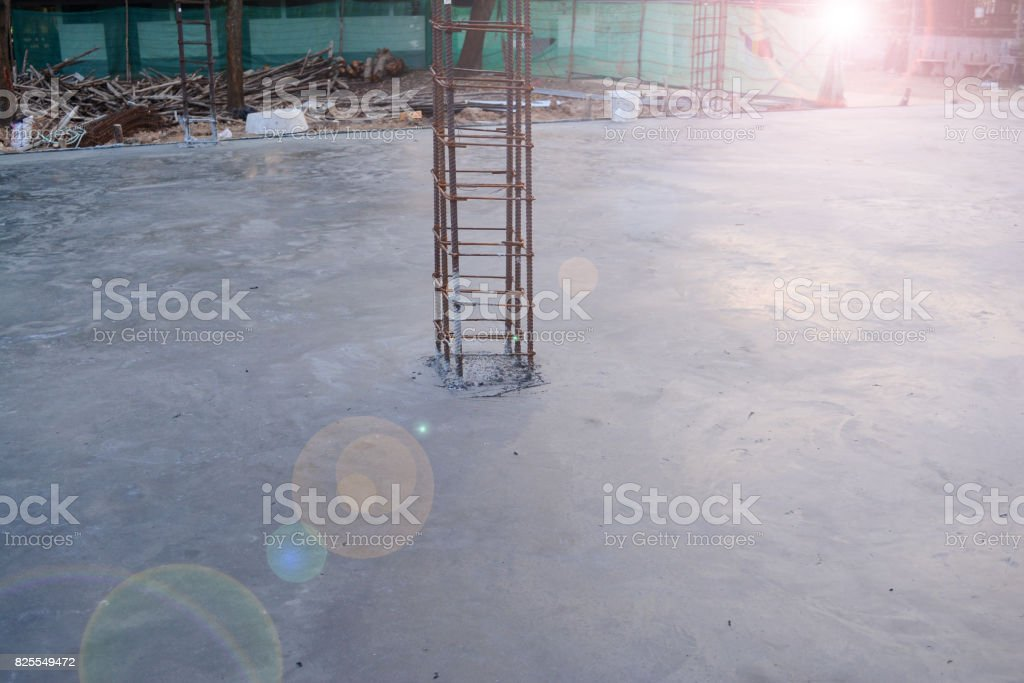 tied rebar for pole casting work with flare stock photo