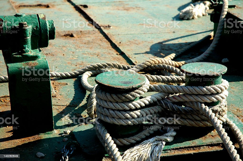 Tied ropes stock photo