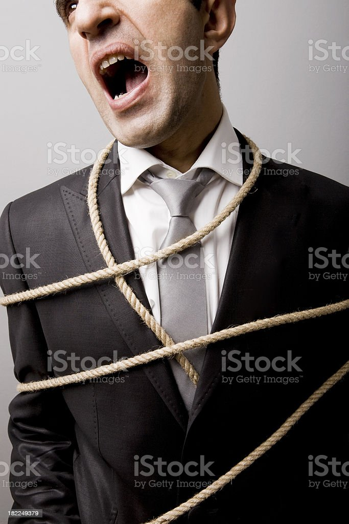 Tied up businessman royalty-free stock photo