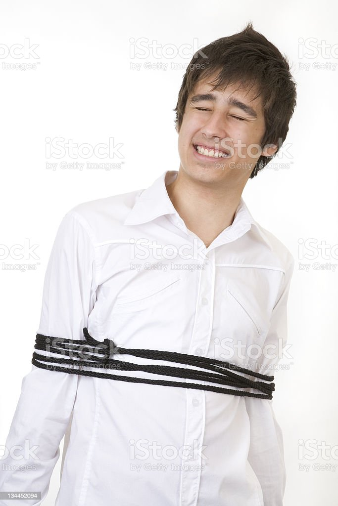 tied up in a rope stock photo