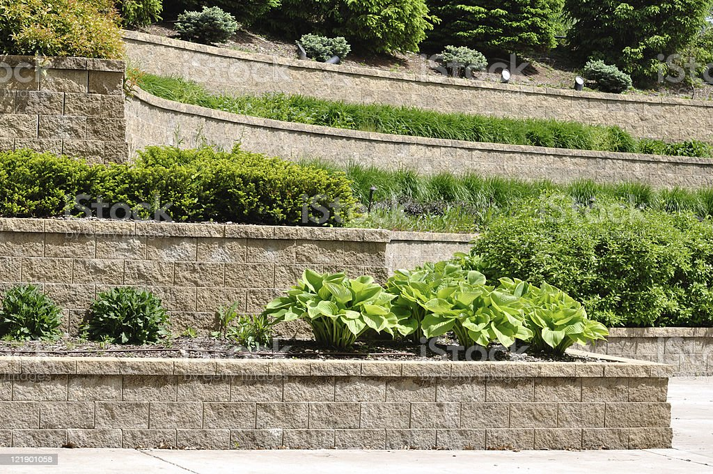 Tiered Retaining Wall stock photo