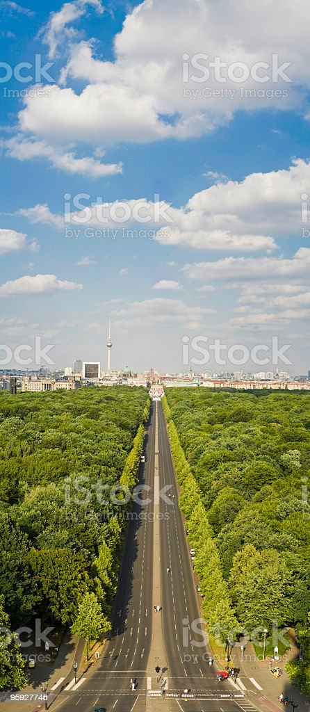 Tiergarten strasse Brandenburg gate royalty-free stock photo