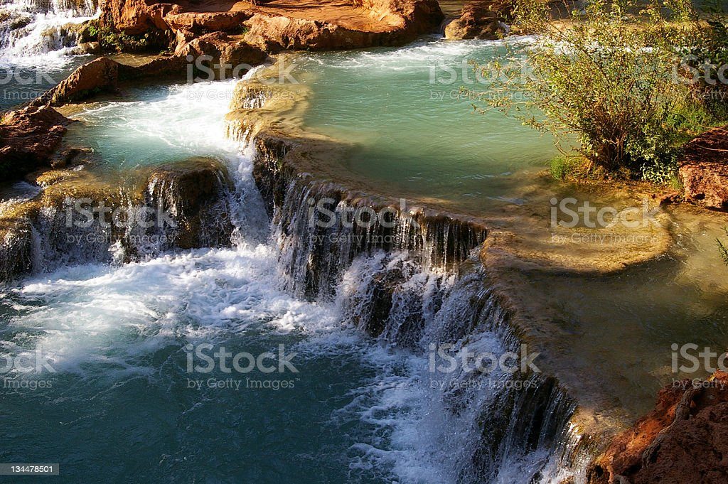 Tiers of falling water stock photo