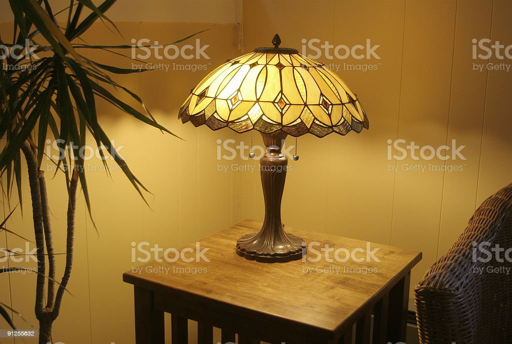 Tiffany Lamp On The Corner Table stock photo