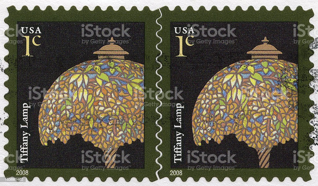 Tiffany Lamp Postage Stamps stock photo