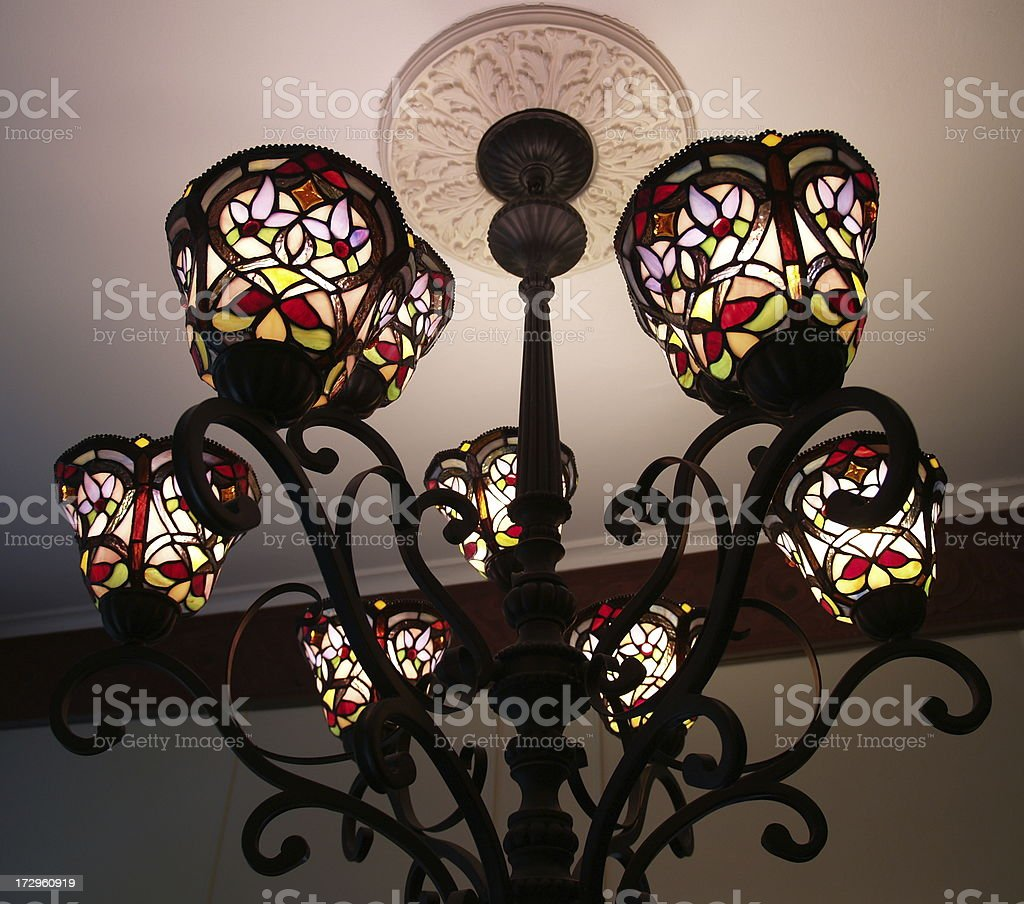 Tiffany Style Chandelier stock photo