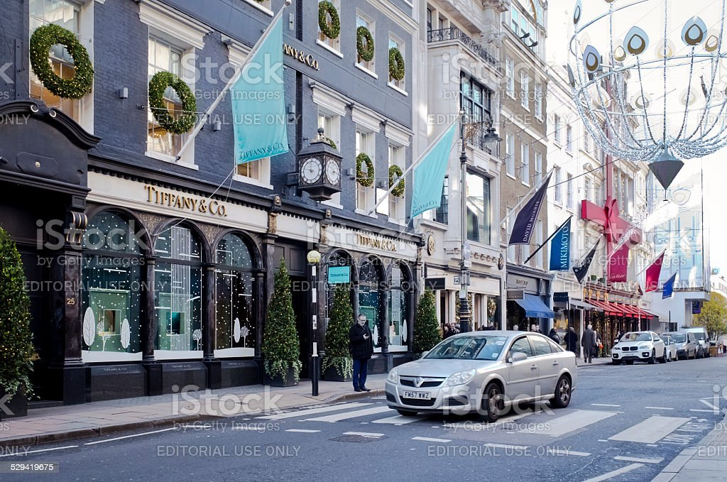 Tiffany's, London, at Christmas stock photo