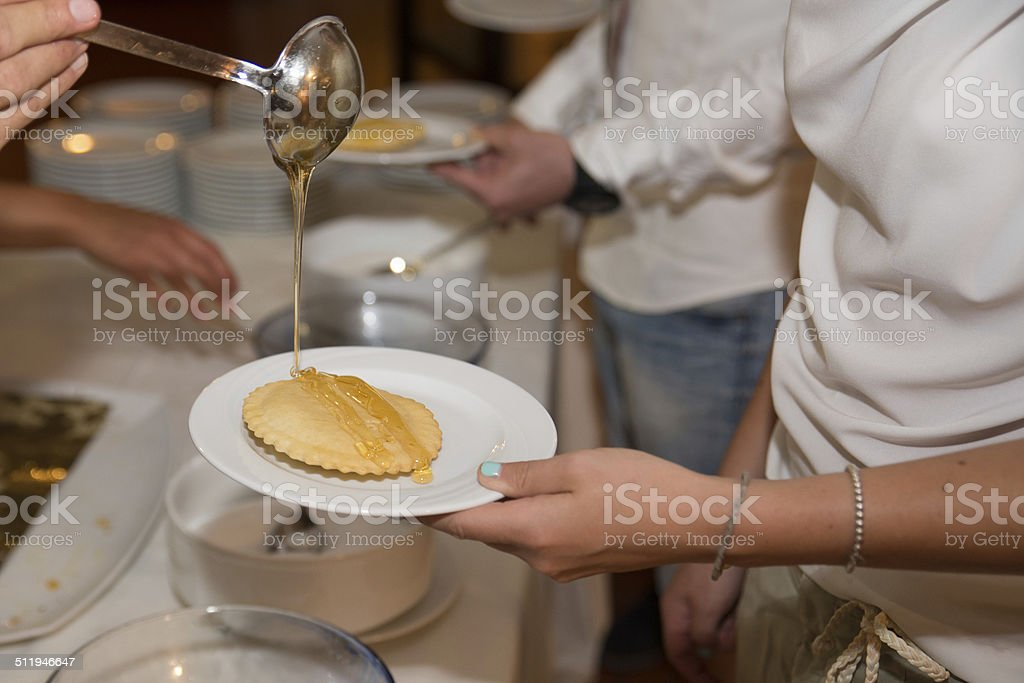 tigella served with honey royalty-free stock photo