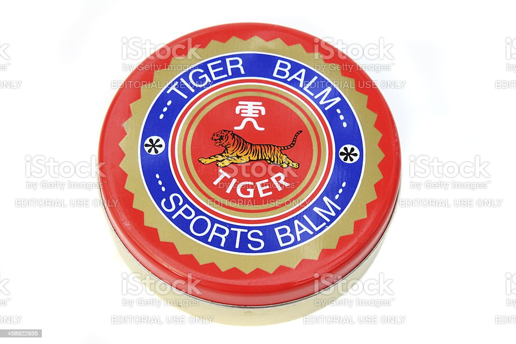 Tiger Balm sports pain relief ointment stock photo