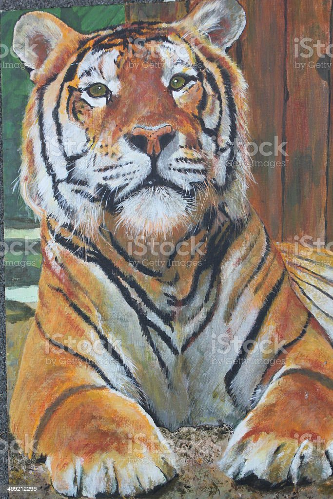 Tiger, Brush on canvas realistic stock photo
