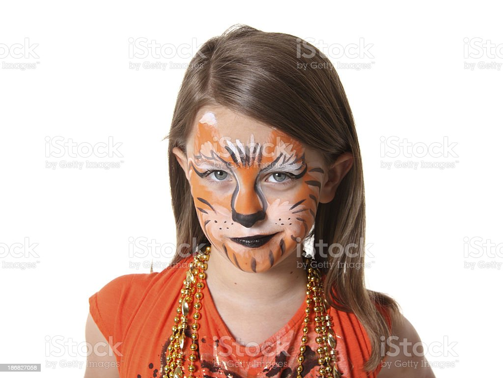 Tiger Face Paint royalty-free stock photo