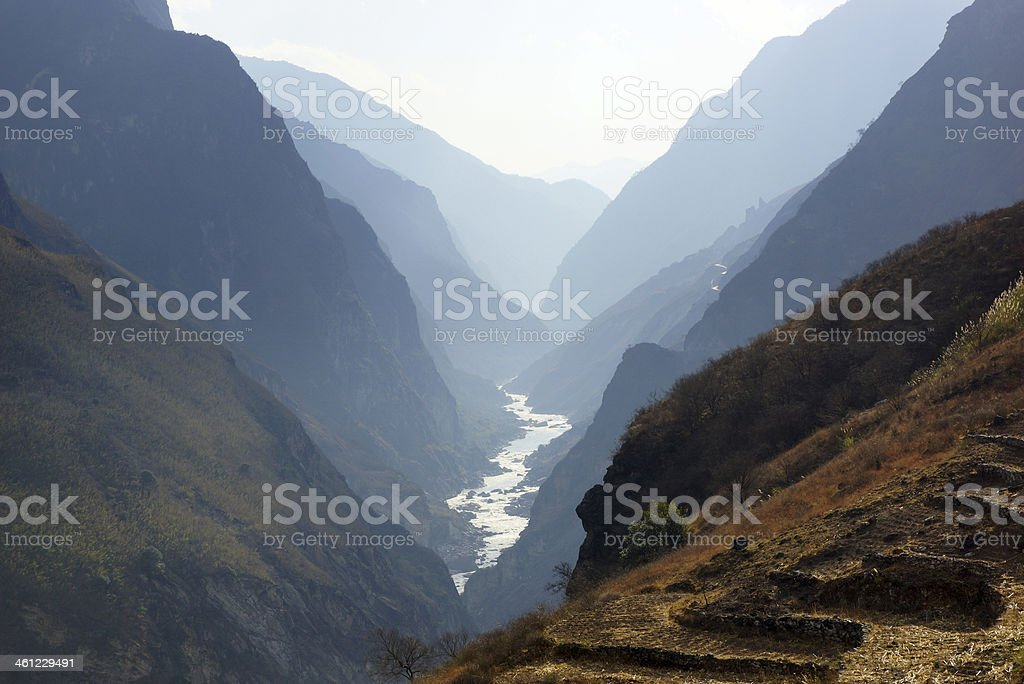 Tiger Leaping Gorge near Hutiaoxia in Yunnan Province China royalty-free stock photo